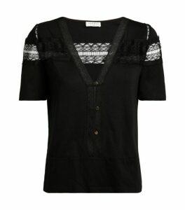 Sandro Paris Lace-Trim T-Shirt
