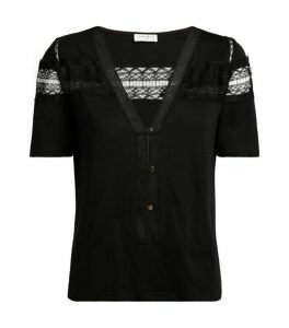 Sandro Paris Lace-Trim T-Shirt