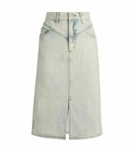 Sandro Paris Washed Denim Midi Skirt