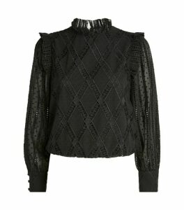 Alice+Olivia Puff-Sleeve Broderie Top