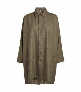 Eskandar A-Line Shirt-Style Cardigan