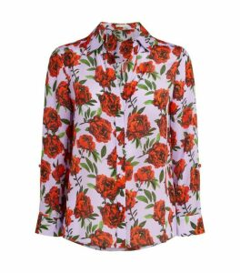 Alice+Olivia Rose Print Silk Blouse