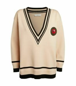 Sandro Paris Patch V-Neck Sweater