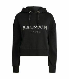 Balmain Crop Logo Hoodie