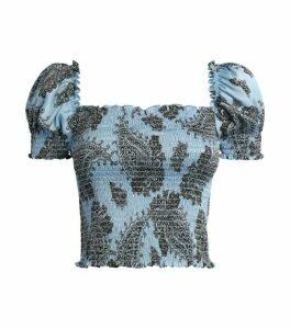 Sandro Paris Paisley Puff-Sleeve Crop Top