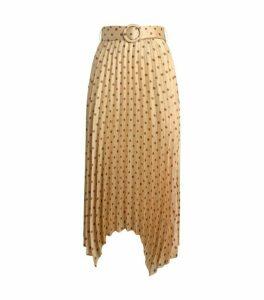 Sandro Paris Asymmetric Pleated Polka-Dot Skirt