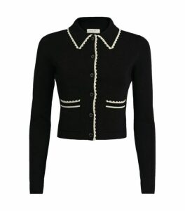 Sandro Paris Knit Contrast-Trim Cropped Cardigan