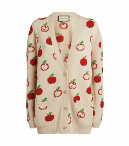 Gucci Wool Apple Jacquard Cardigan