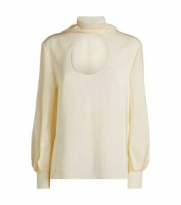Chloé Silk Pussybow Cut-Out Blouse