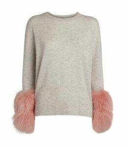 Izaak Azanei Wool-Cashmere Fur Cuff Sweater