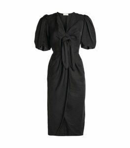 Sandro Paris Linen-Blend Puff Sleeve Dress