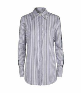 Victoria Beckham Split-Sleeve Logo-Stripe Shirt