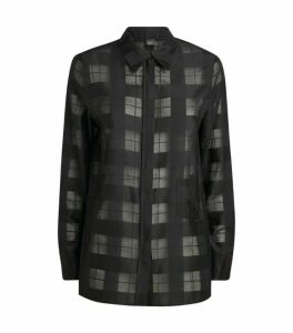 Akris Cotton-Silk Check Blouse