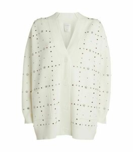 Sandro Paris Studded V-Neck Cardigan
