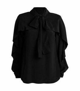 RedValentino Silk Ruffle-Trim Blouse