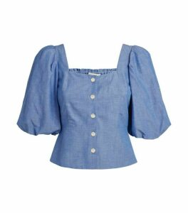 Sandro Paris Square Neck Button-Up Blouse