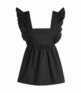 Self-Portrait Cotton Ruffle-Trim Top