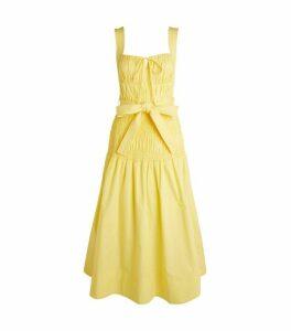 Self-Portrait Smocked Cotton Midi Dress