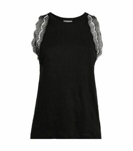 Sandro Paris Lace-Trimmed Top