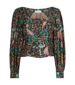 Sandro Paris Printed Silk Blouse