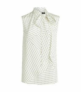 St. John Polka-Dot Silk Top