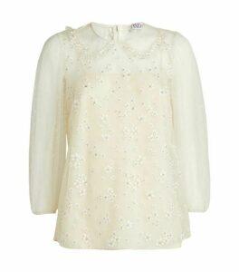 Valentino Embellished Tulle Polka-Dot Top