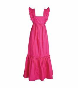 Self-Portrait Cotton Ruffle-Trim Maxi Dress