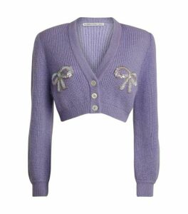 Alessandra Rich Sequin-Bow Cropped Cardigan
