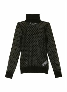 Polka dot sheer turtleneck top