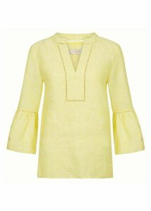Maudie Linen Top Yellow