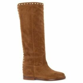 Via Roma 15  boot in brown suede with rear studs  women's High Boots in Beige