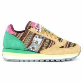 Saucony  Jazz Triple sneaker in leather and multicolor fabric with  women's Shoes (Trainers) in Brown