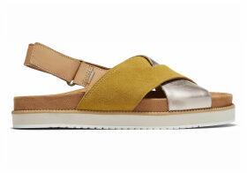 TOMS Yellow Gold Metallic Suede Marisa Women's Sandals - Size UK7