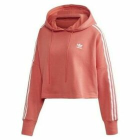 adidas  Cropped Hood  women's Sweatshirt in Red
