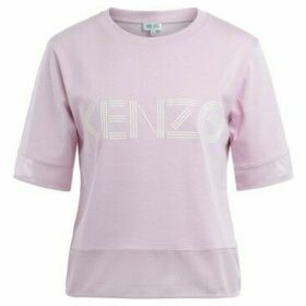 Kenzo  Logo t-shirt in cotton and pink net  women's T shirt in Pink