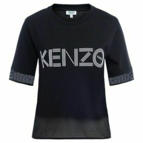 Kenzo  Sport T-shirt model Logo in black cotton with mesh insert  women's T shirt in Black