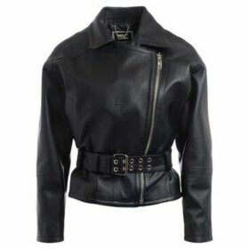 Elisabetta Franchi  jacket in black leather  women's Leather jacket in Black
