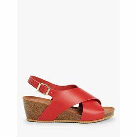 John Lewis & Partners Kelsea Leather Footbed Sandals, Red