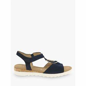 Gabor Ellis Wide Fit Low Wedge Sandals, Navy