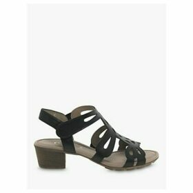 Gabor Holycron Leather Cut Out Heeled Sandals, Black