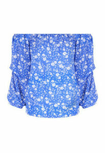 Womens Blue Floral Bardot Top
