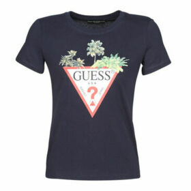 Guess  SS CN PALMS TRIANGLE TEE  women's T shirt in Blue