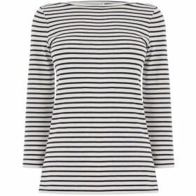 Warehouse Stripe Slash Neck Top