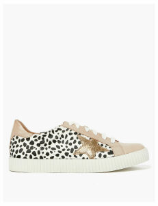 M&S Collection Leather Lace Up Leopard Print Star Trainers