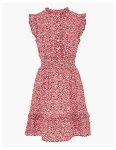 M&S Collection Pure Cotton Ditsy Floral Mini Waisted Dress