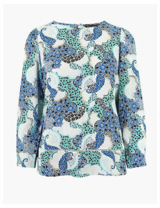 M&S Collection Paisley Woven Long Sleeve Blouse