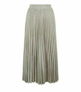 Gold Glitter Pleated Midi Skirt New Look