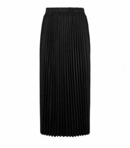 Black Glitter Pleated Midi Skirt New Look