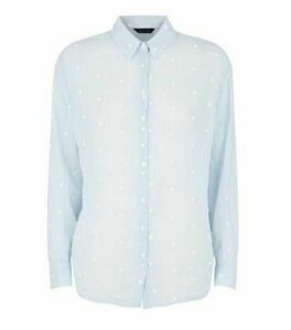 Pale Blue Spot Embroidered Shirt New Look