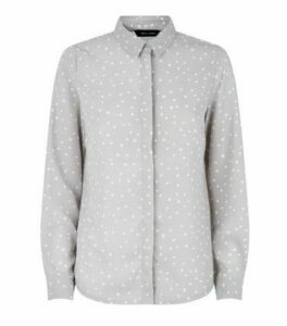 Light Grey Spot Long Sleeve Shirt New Look